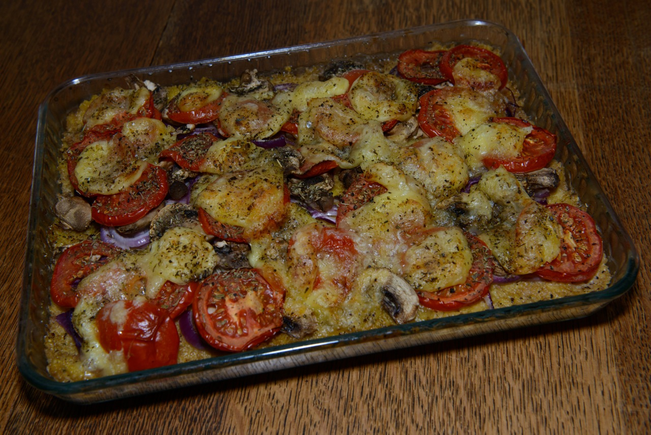 überbackenes Gratin Tomaten etc.